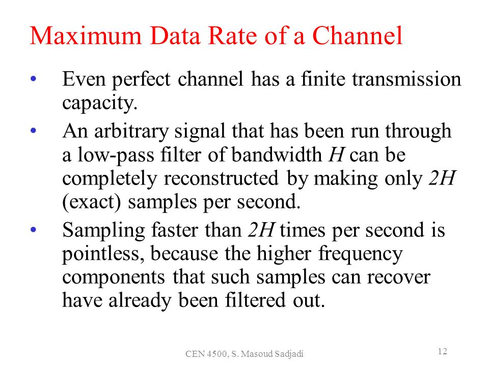 Maximum Data Rate of a Channel