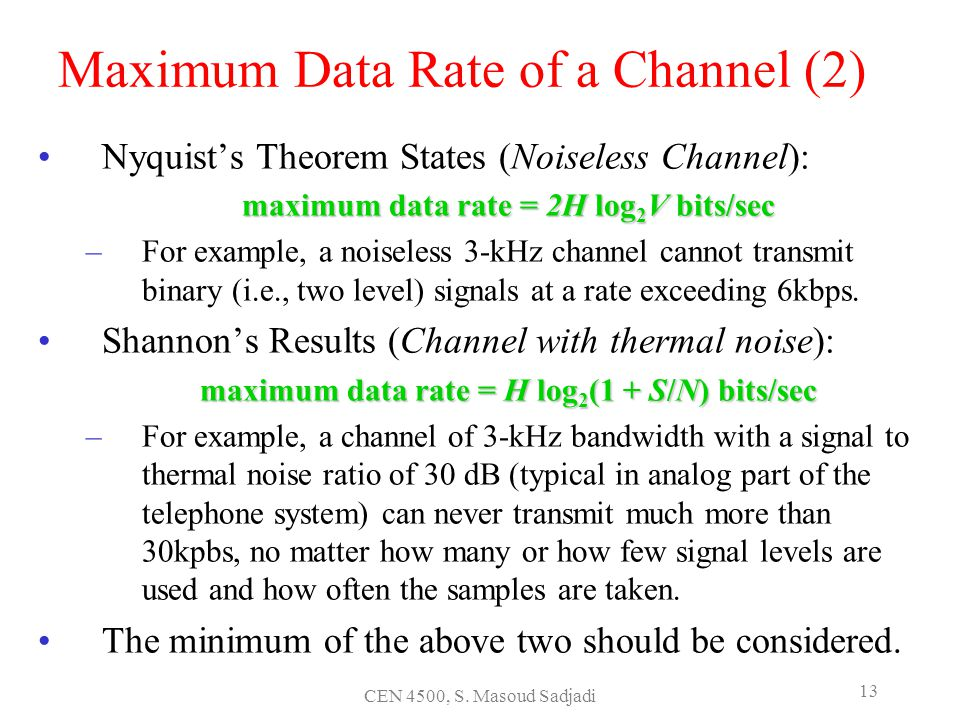Maximum Data Rate of a Channel (2)