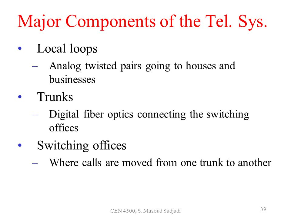 Major Components of the Tel. Sys.