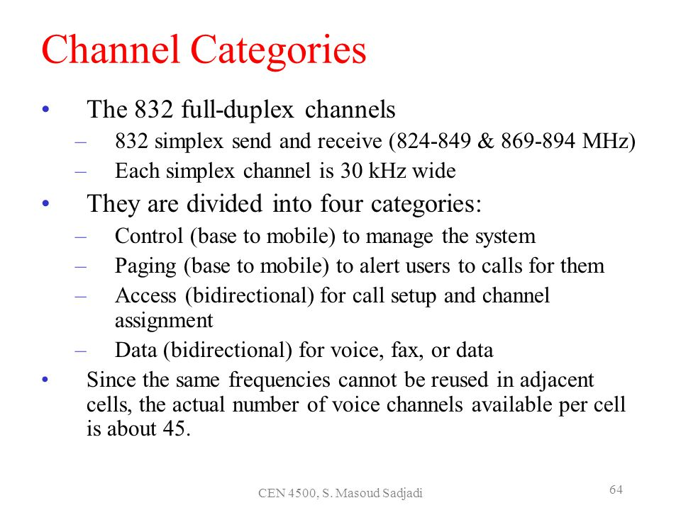 Channel Categories The 832 full-duplex channels