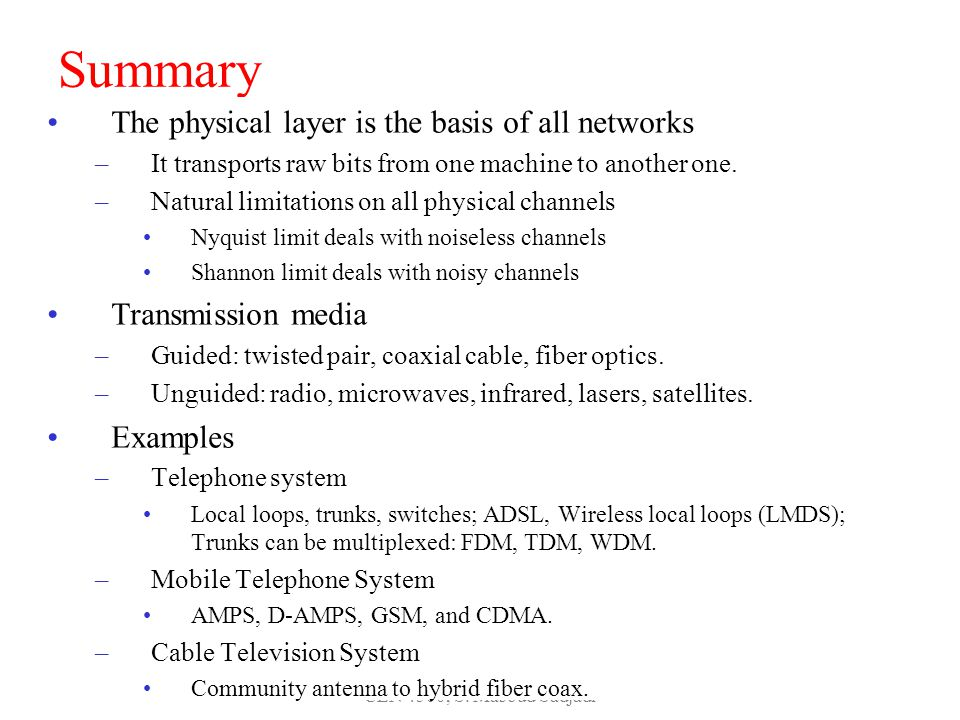 Summary The physical layer is the basis of all networks