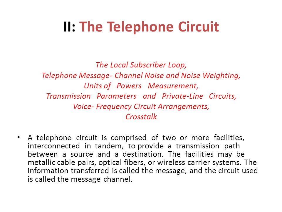 II: The Telephone Circuit