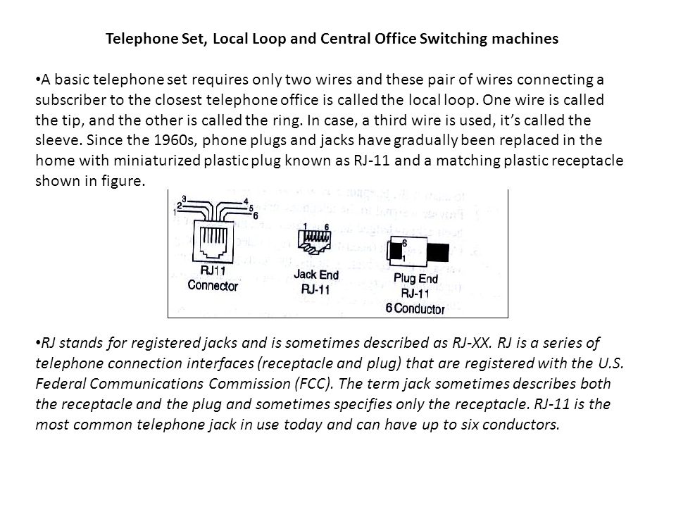 Telephone Set, Local Loop and Central Office Switching machines