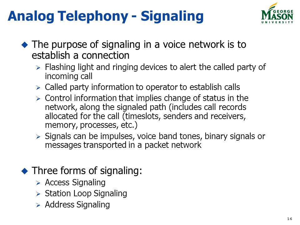 Analog Telephony - Signaling