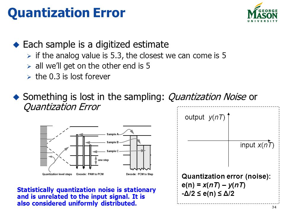 Quantization Error Each sample is a digitized estimate