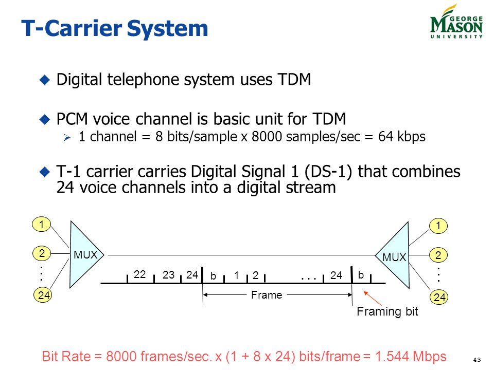 T-Carrier System Digital telephone system uses TDM