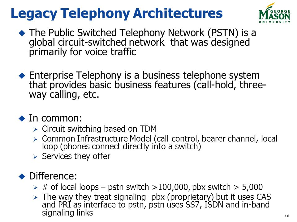 Legacy Telephony Architectures