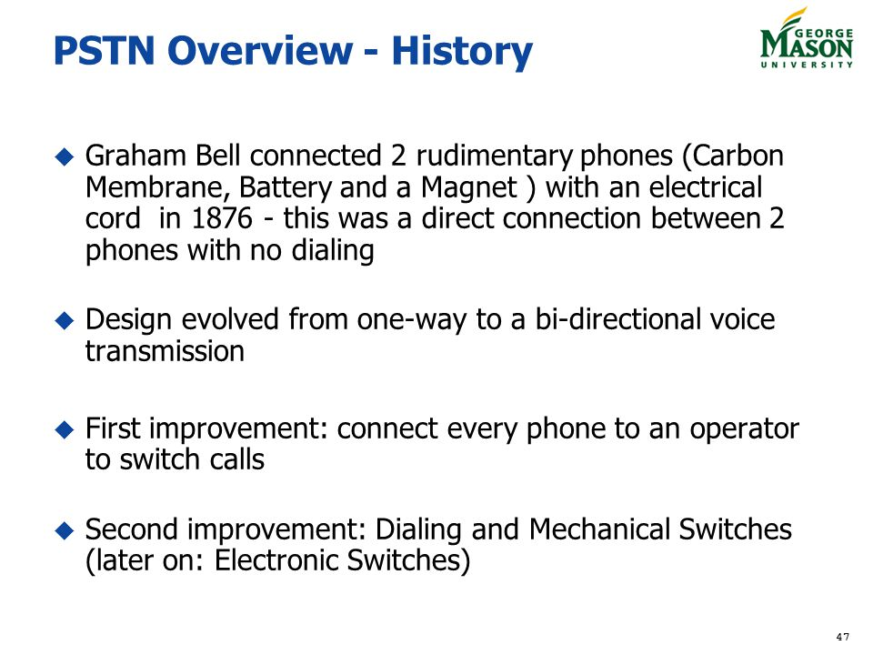 PSTN Overview - History