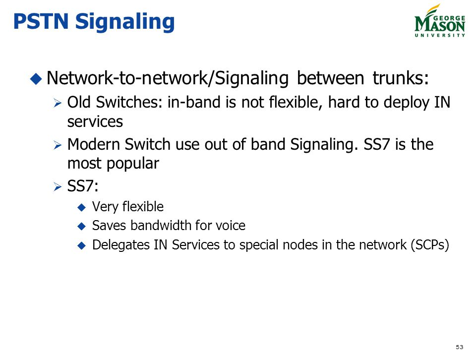 PSTN Signaling Network-to-network/Signaling between trunks: