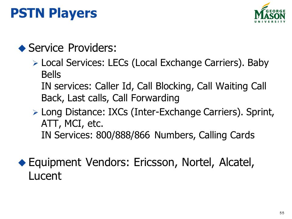 PSTN Players Service Providers:
