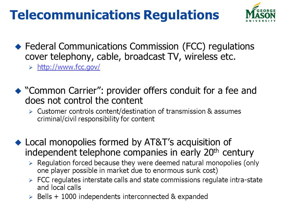 Telecommunications Regulations