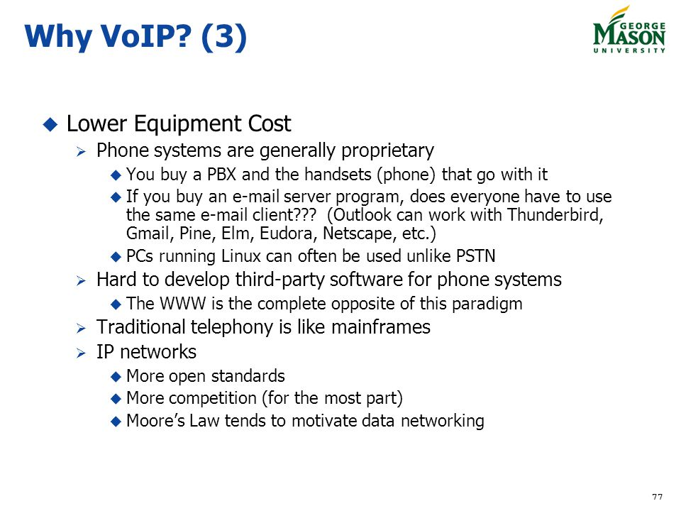 Why VoIP (3) Lower Equipment Cost