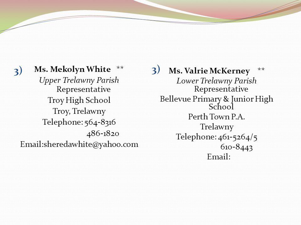 3) 3) Ms. Mekolyn White ** Ms. Valrie McKerney **