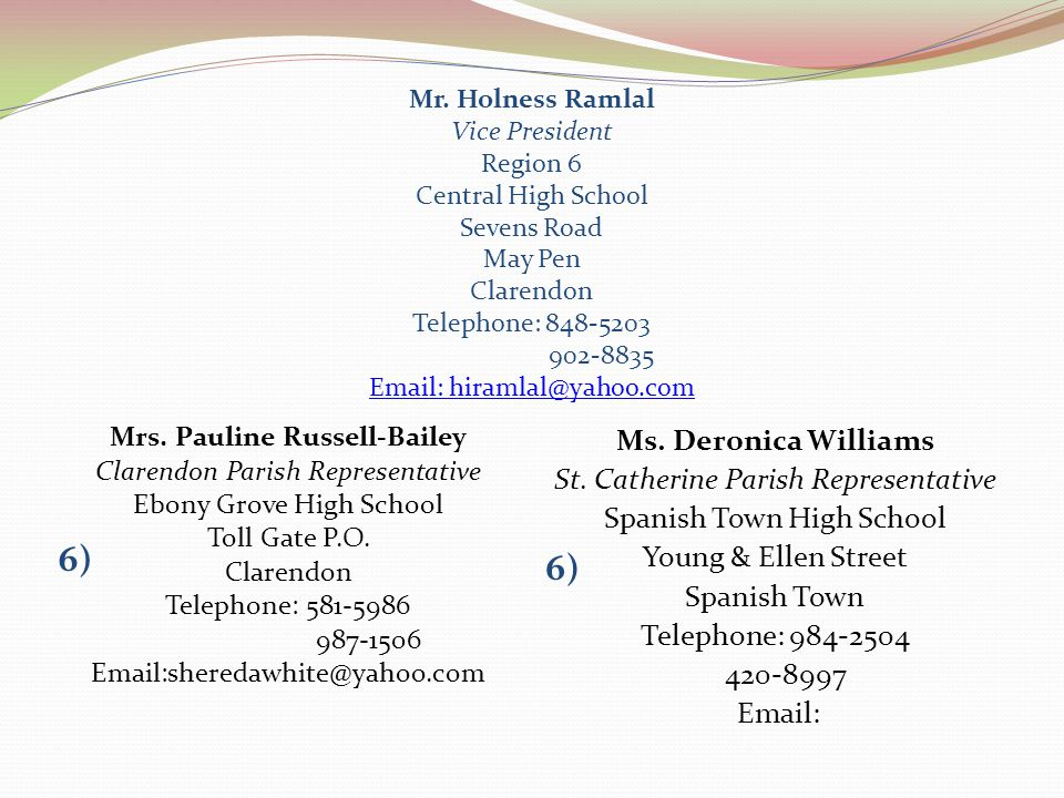6) 6) Ms. Deronica Williams St. Catherine Parish Representative