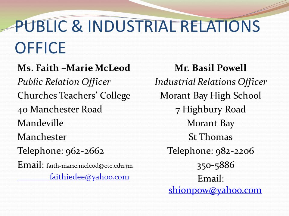 PUBLIC & INDUSTRIAL RELATIONS OFFICE