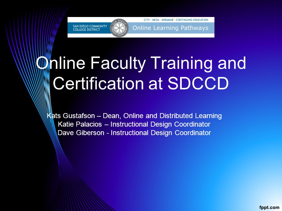Online Faculty Training and Certification at SDCCD