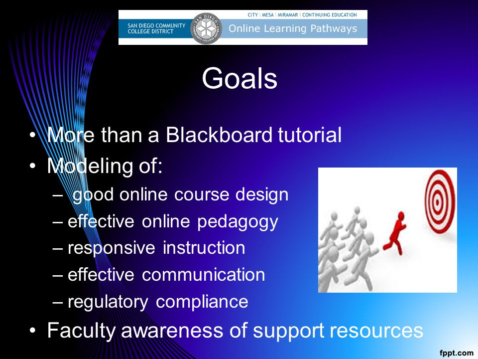 Goals More than a Blackboard tutorial Modeling of: