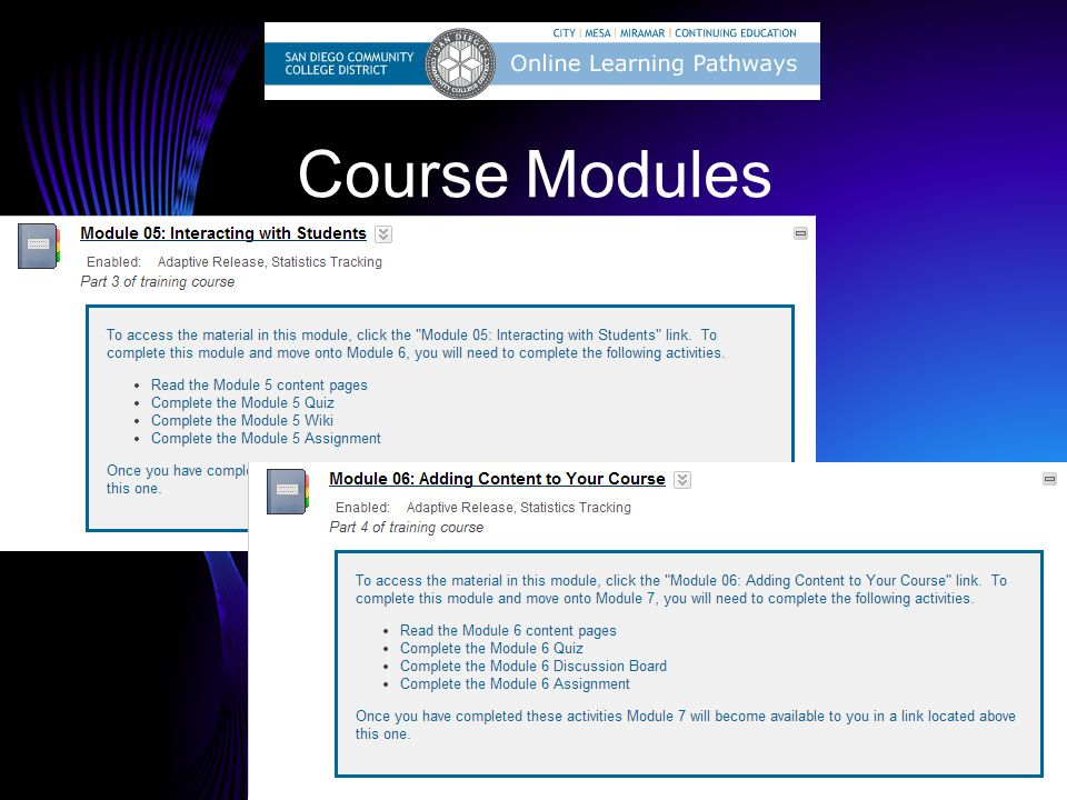 Course Modules Katie/Dave: