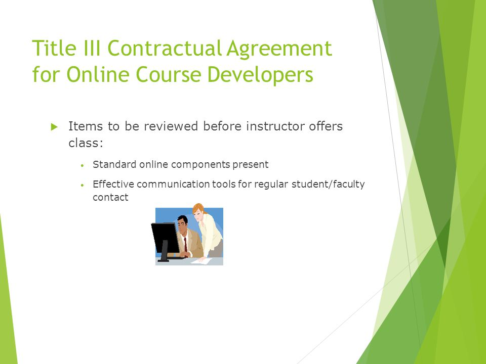 Title III Contractual Agreement for Online Course Developers