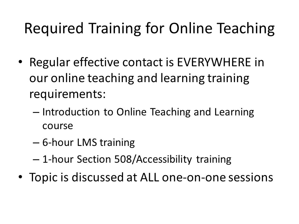 Required Training for Online Teaching