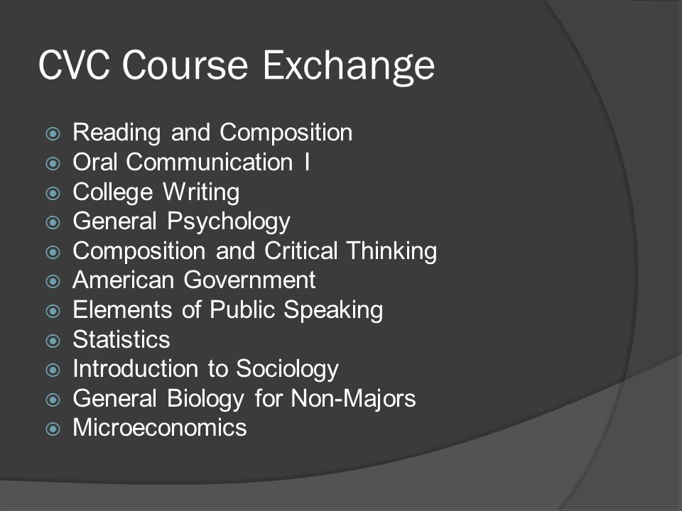 CVC Course Exchange Reading and Composition Oral Communication I