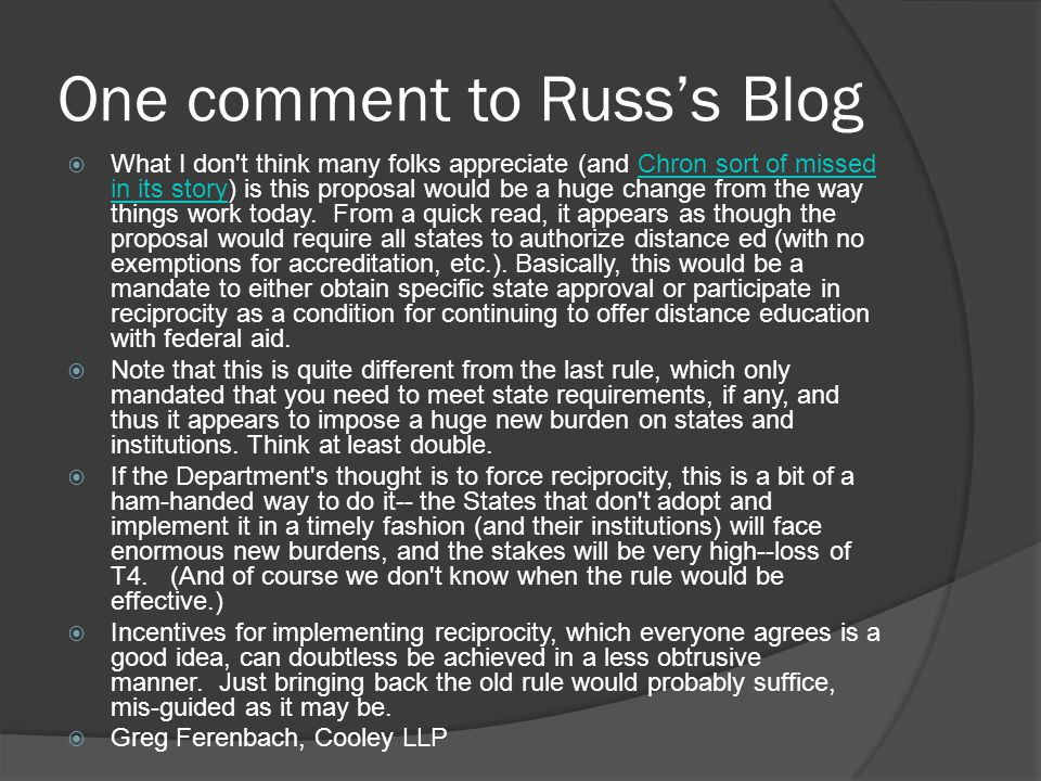 One comment to Russ's Blog