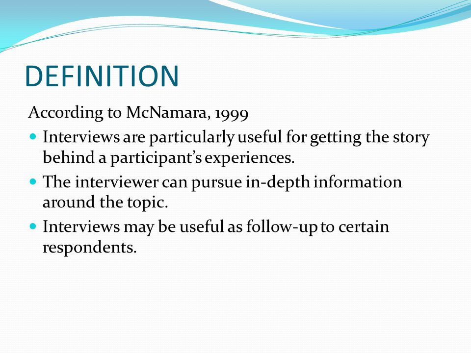 DEFINITION According to McNamara, 1999