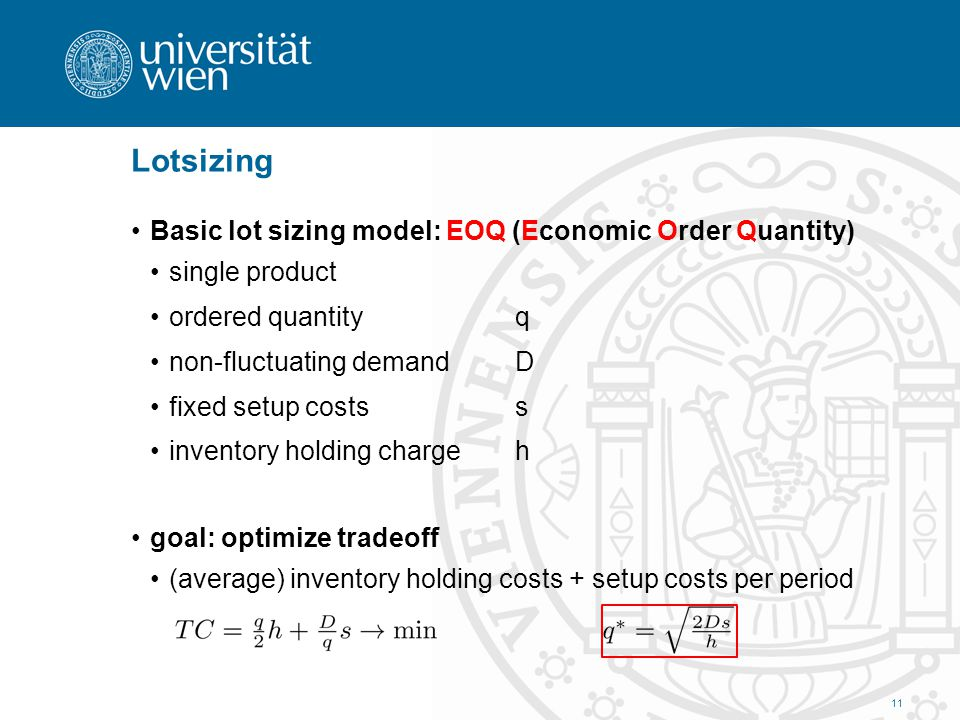 Lotsizing Basic lot sizing model: EOQ (Economic Order Quantity)