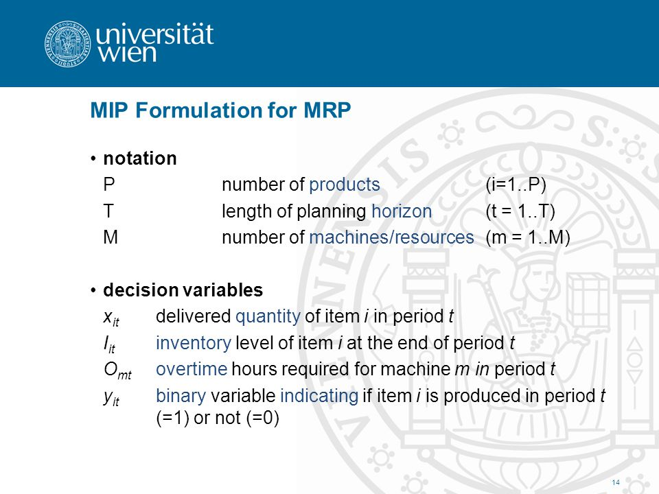 MIP Formulation for MRP