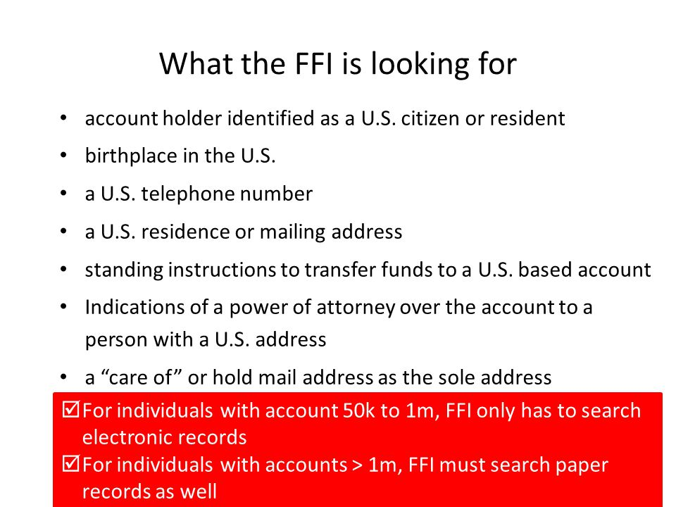 What the FFI is looking for