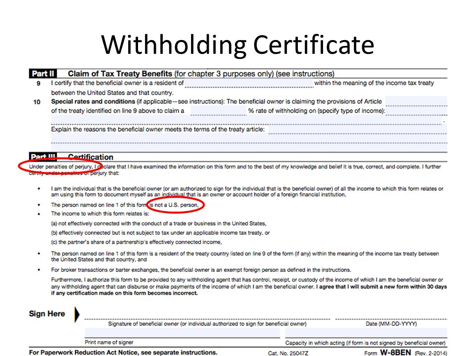 Withholding Certificate