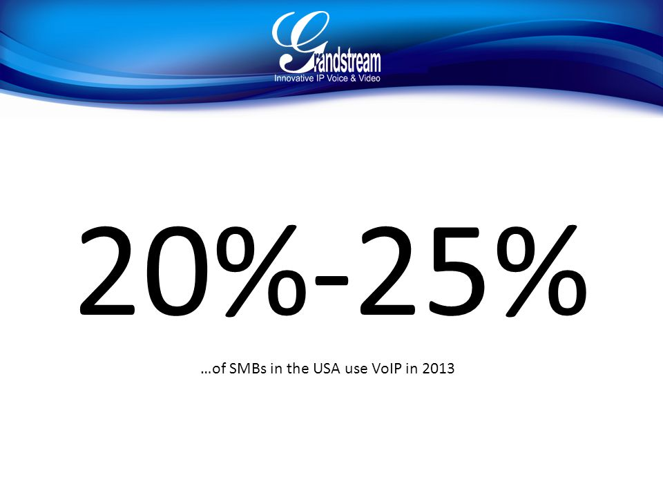 20%-25% …of SMBs in the USA use VoIP in 2013
