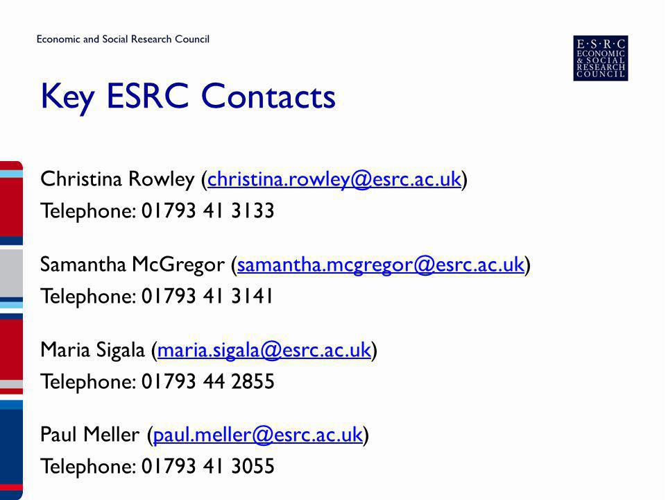 Key ESRC Contacts