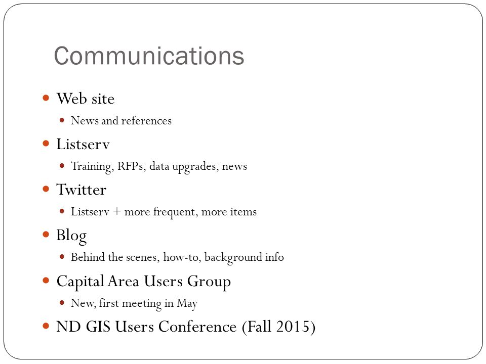 Communications Web site Listserv Twitter Blog Capital Area Users Group