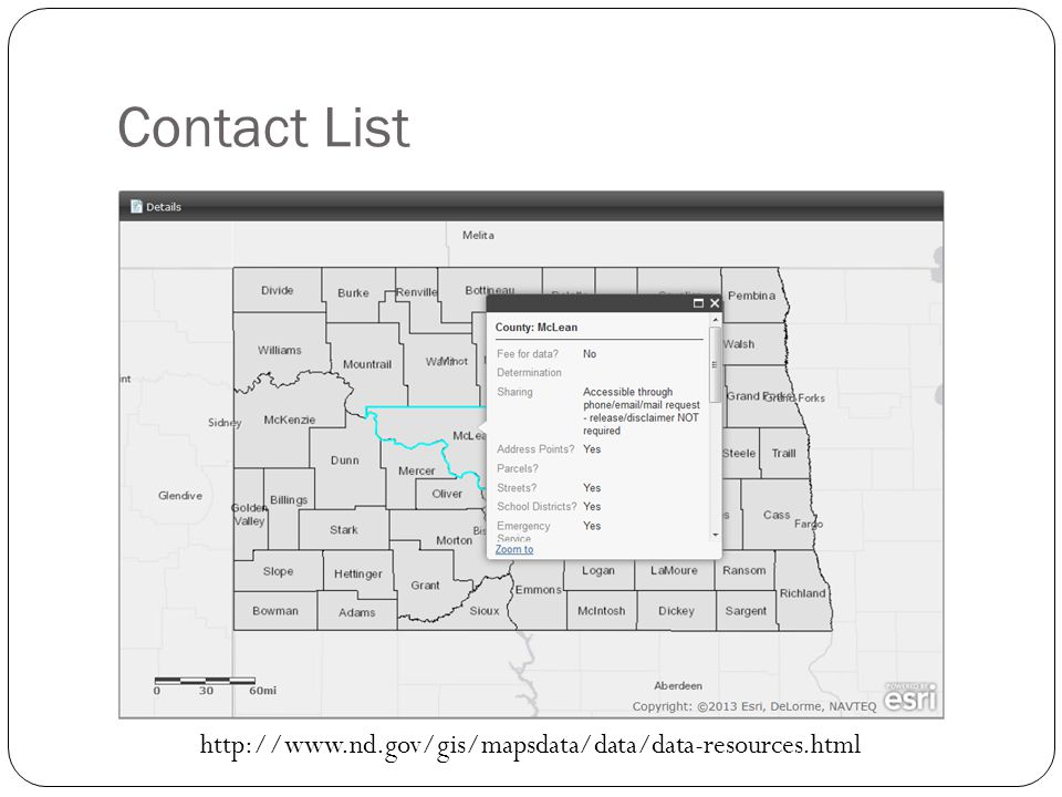 Contact List http://www.nd.gov/gis/mapsdata/data/data-resources.html