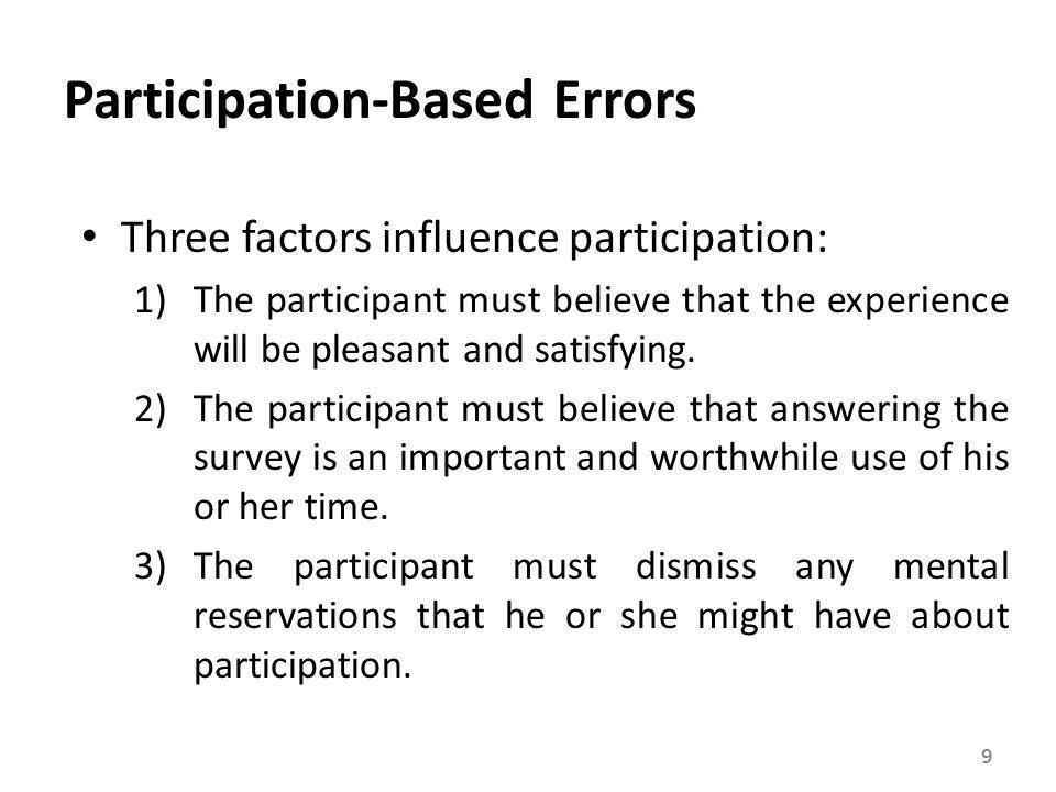 Factors Influencing Participant Motivation