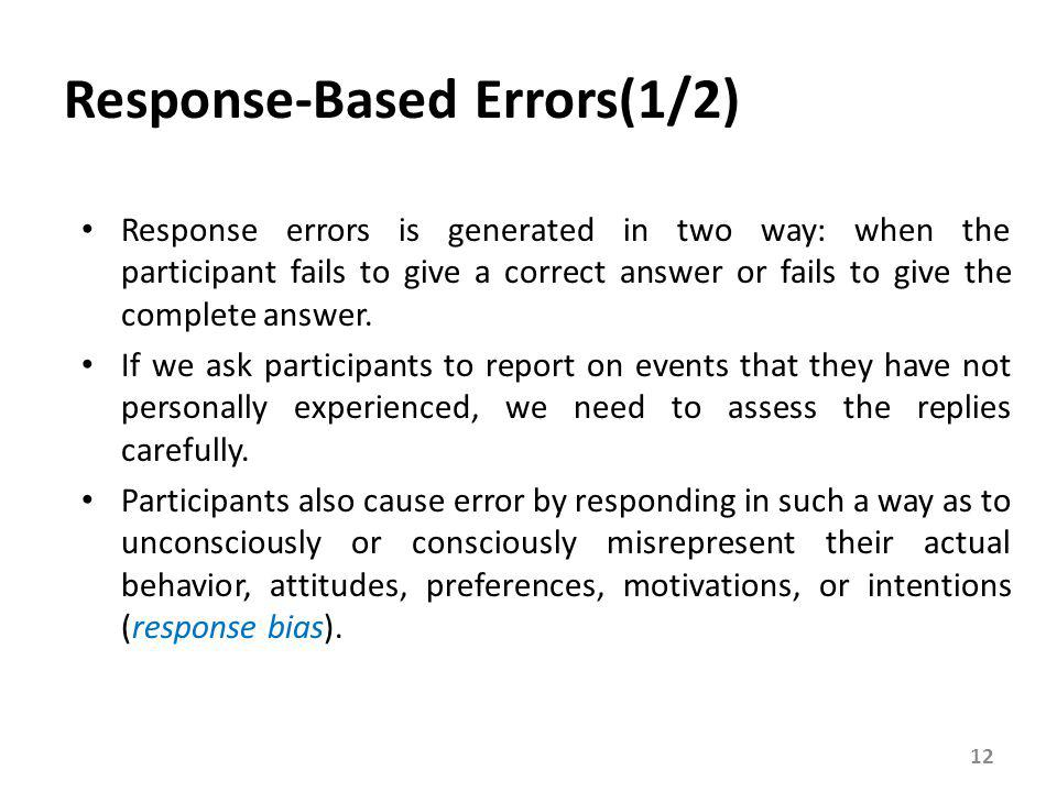 Response-Based Errors(2/2)