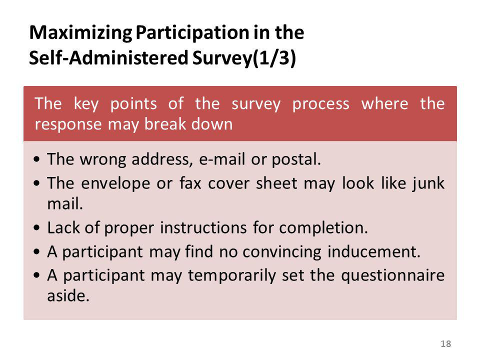 Maximizing Participation in the Self-Administered Survey(2/3)