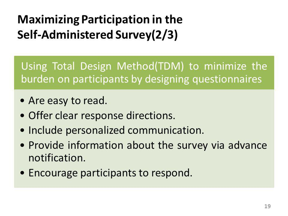 Maximizing Participation in the Self-Administered Survey(3/3)
