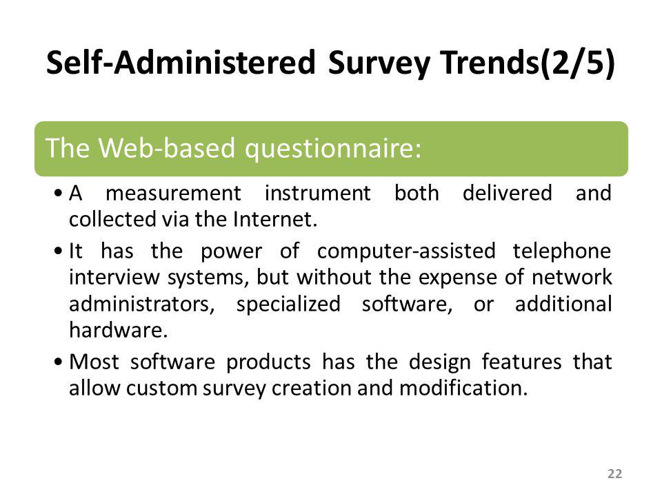 Self-Administered Survey Trends(3/5)