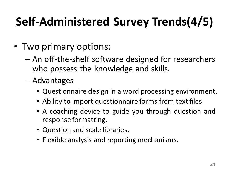 Self-Administered Survey Trends(5/5)