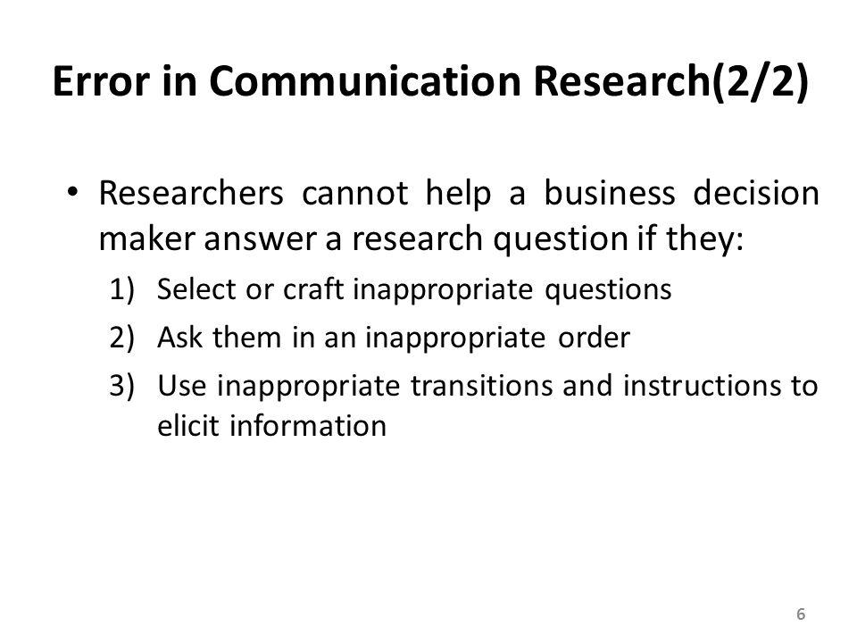 Interviewer Error A major source of sampling error and response bias, is caused by numerous actions: