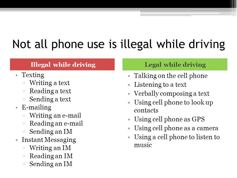 Not all phone use is illegal while driving