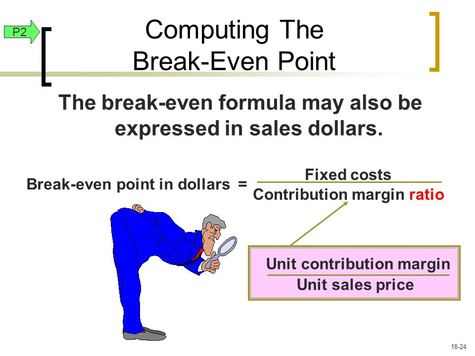 The break-even formula may also be expressed in sales dollars.