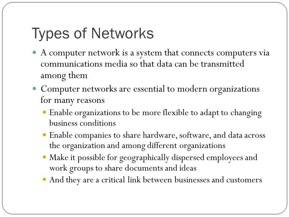 Types of Networks A computer network is a system that connects computers via communications media so that data can be transmitted among them.