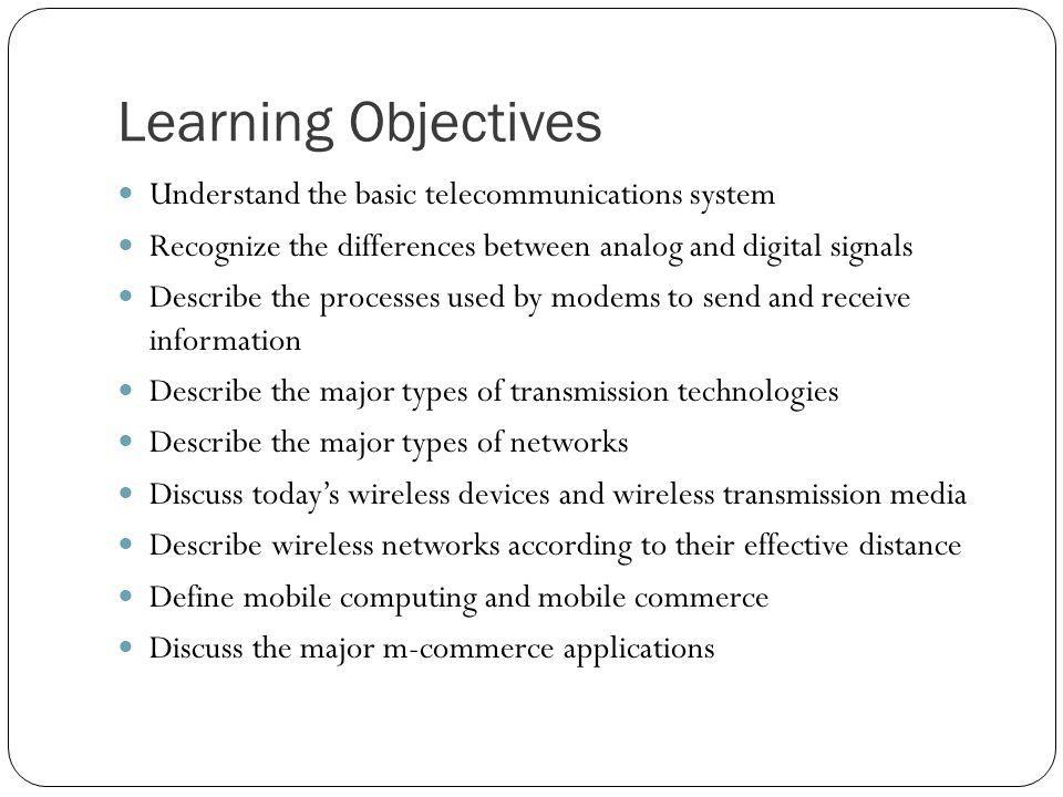 Learning Objectives Understand the basic telecommunications system