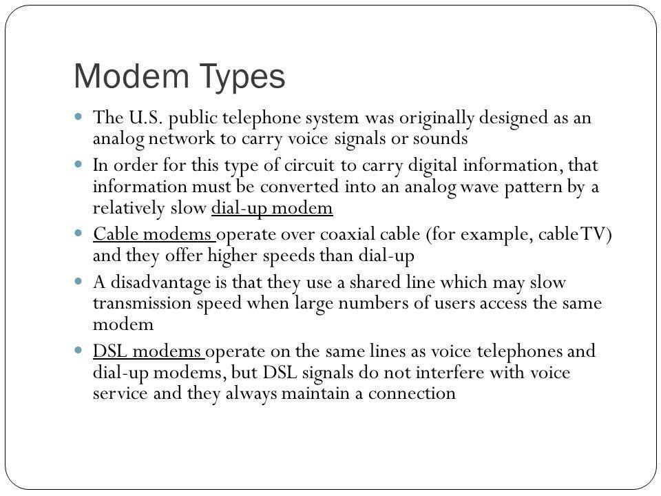 Modem Types The U.S. public telephone system was originally designed as an analog network to carry voice signals or sounds.