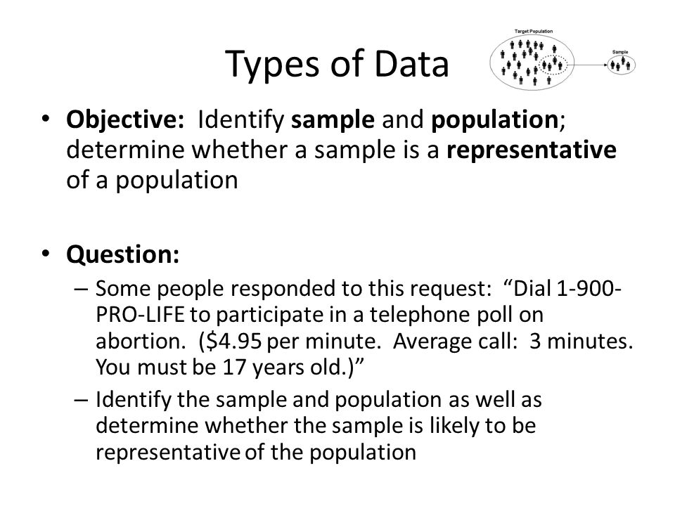 Types of Data Objective: Identify sample and population; determine whether a sample is a representative of a population.