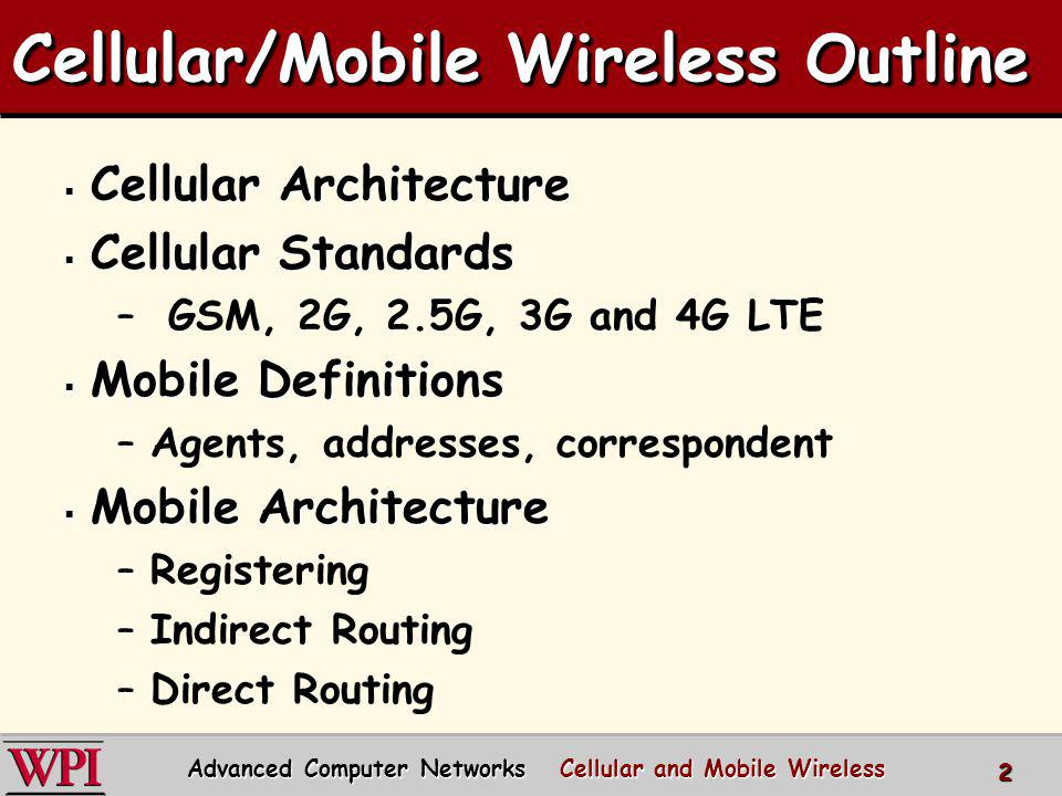 Cellular/Mobile Wireless Outline
