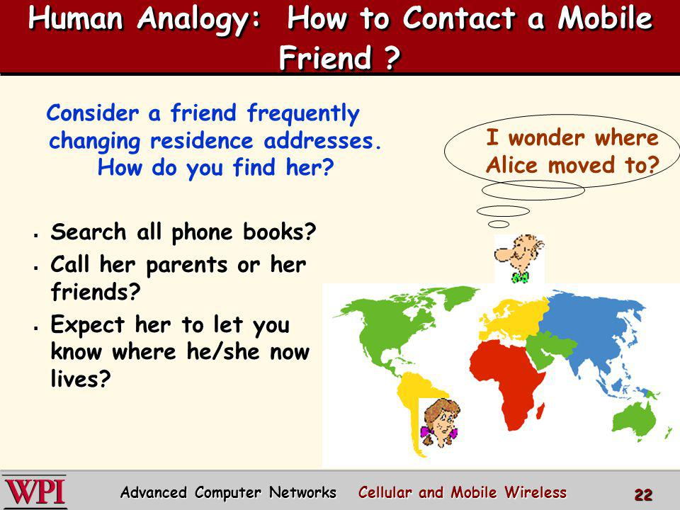 Human Analogy: How to Contact a Mobile Friend